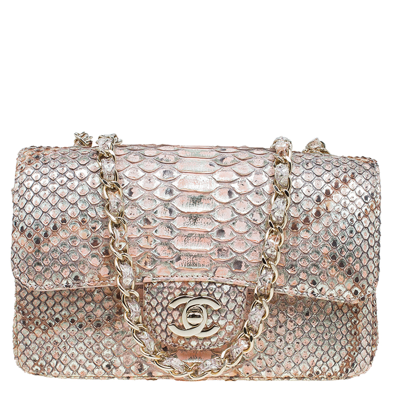 Buy Chanel Gold Pink Python New Mini Classic Single Flap Bag 57207 ... a8c8a3a02