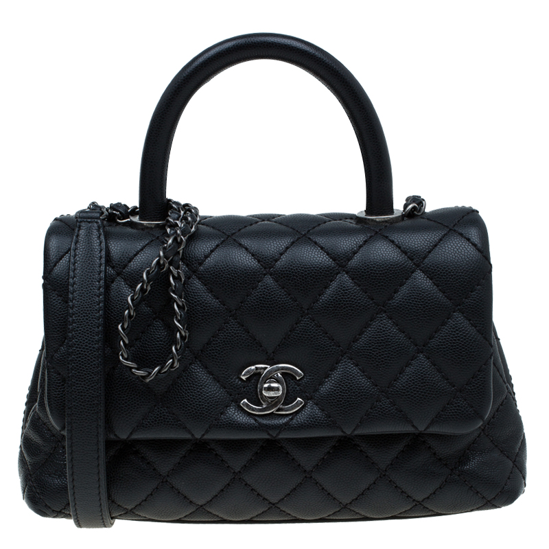 Buy Chanel Black Quilted Caviar Leather Mini Coco Top