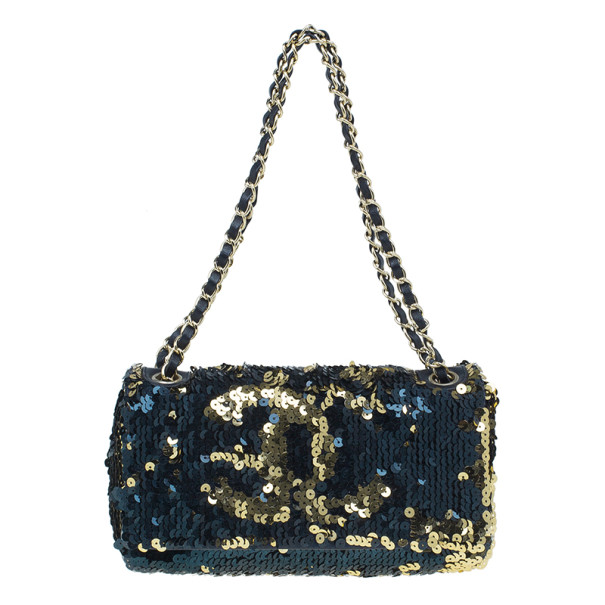 23d6a6d0c377 Buy Chanel Black and Gold Sequin Single Flap Bag 6313 at best price ...