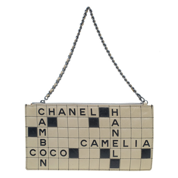 Chanel Tan & Black Lambskin Square Quilted Crossword Puzzle Pochette