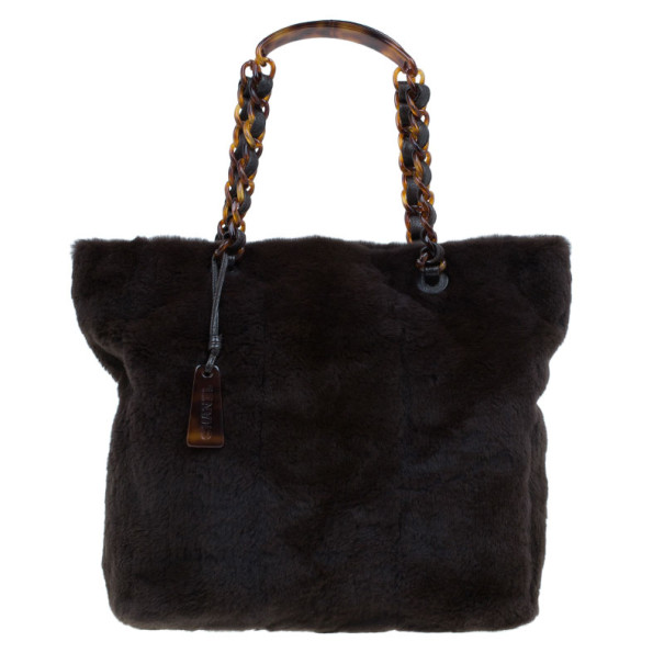 5f26fde4f5c888 Buy Chanel Brown Vintage Mink Tortoise Chain Tote 7575 at best price ...