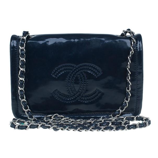 81de9170711e Buy Chanel Blue Patent CC Logo Chain Crossbody 8435 at best price | TLC