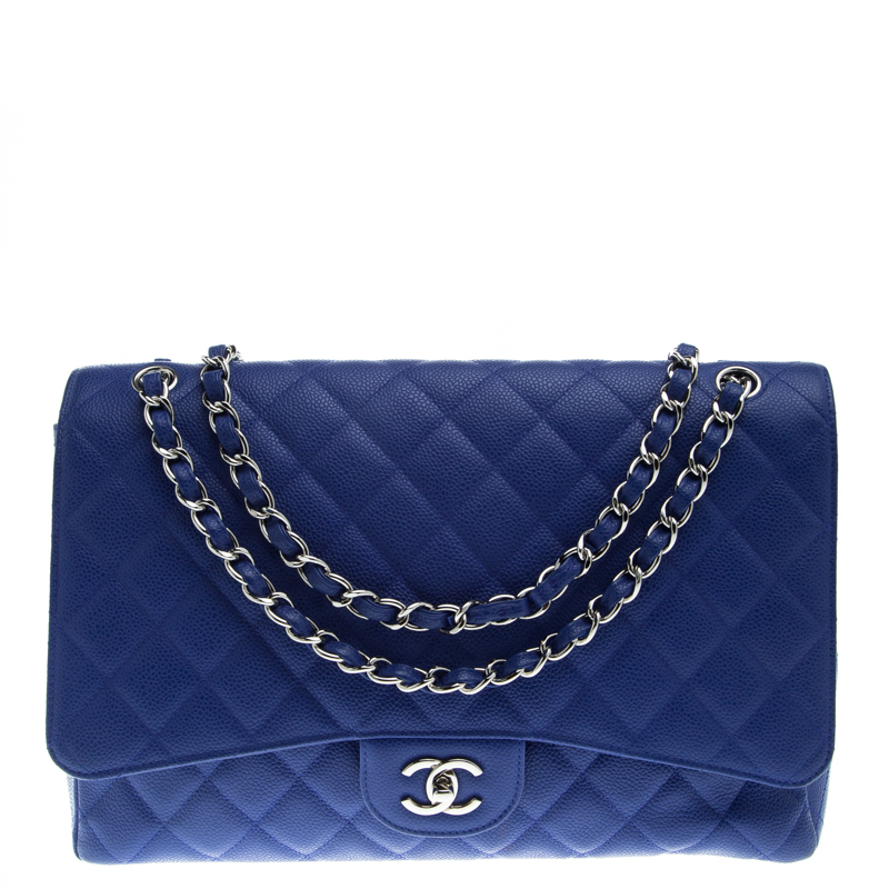 Chanel Blue Quilted Caviar Leather Maxi Classic Single Flap Bag