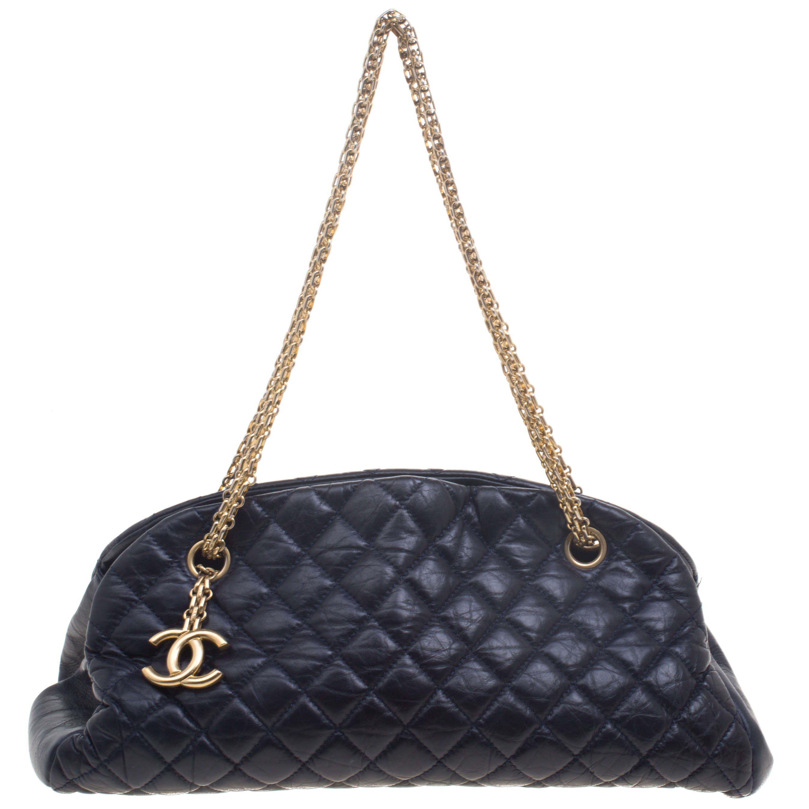 b716538ea49 Buy Chanel Navy Blue Quilted Leather Medium Just Mademoiselle ...