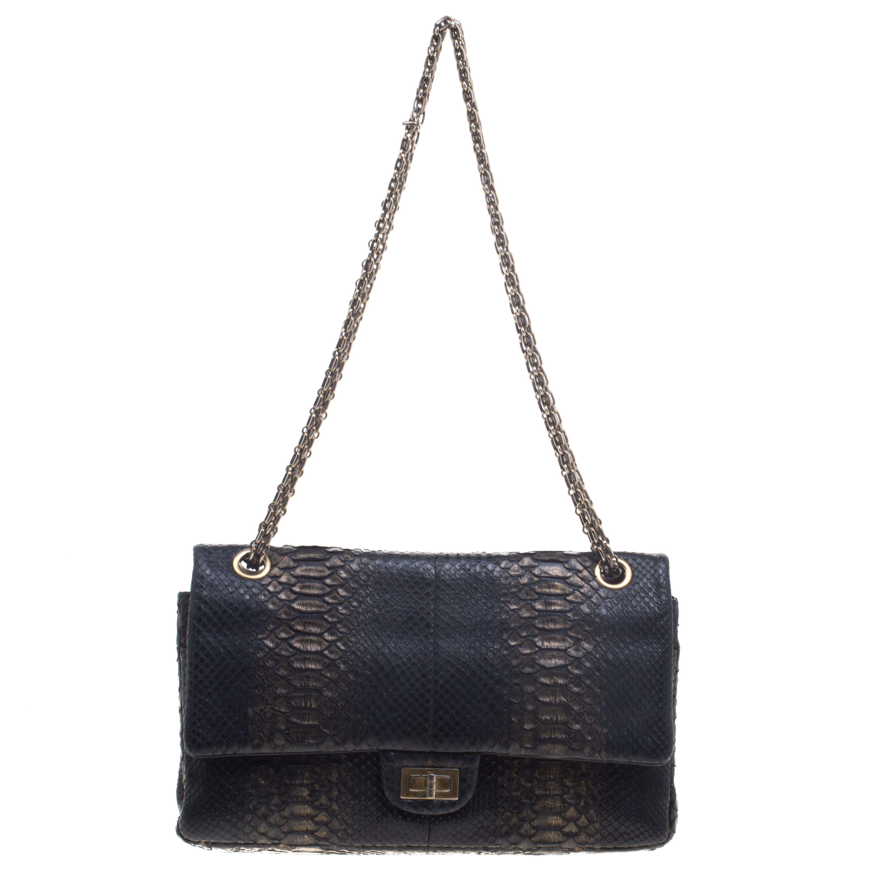 e1d733792d Buy Chanel Metallic Black Gold Python Reissue 2.55 Classic 226 Flap ...