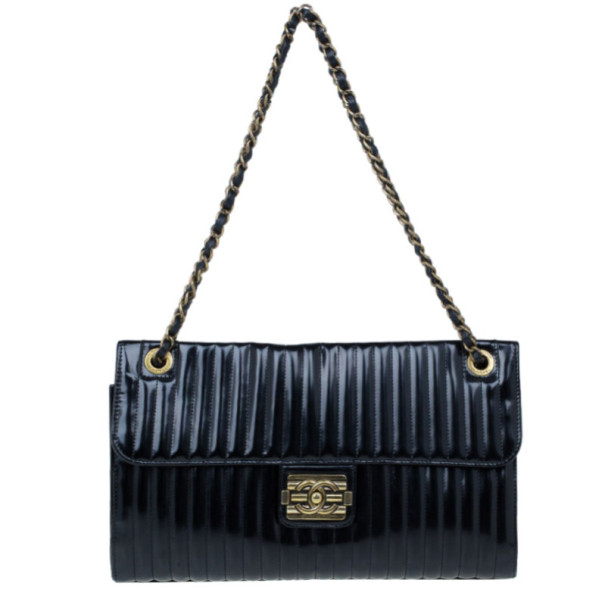 Chanel Black Vertical Stripe Patent Leather Maharajah Flap Bag