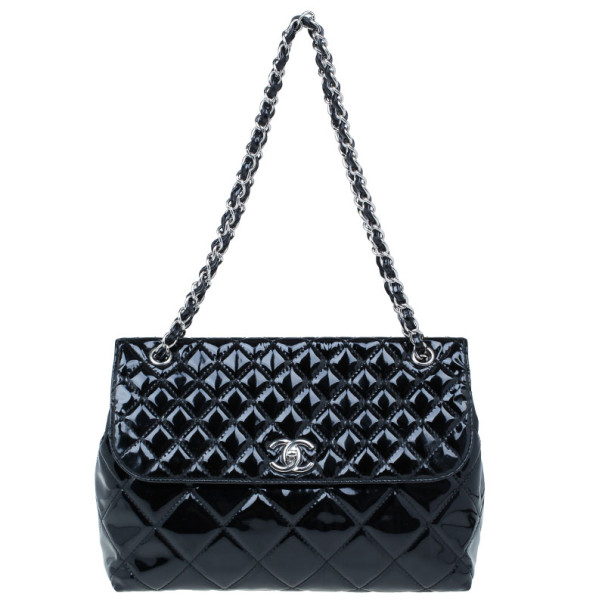 0a09cffc1c94 Buy Chanel Black Patent Leather Quilted Flap Bag 9660 at best price ...