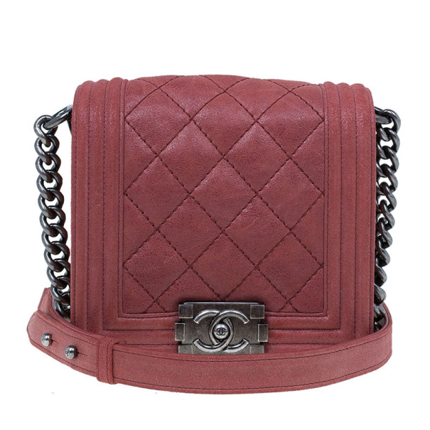 f1a2489e636d Buy Chanel Dull Red Sueded Bull Small Boy Flap Bag 9987 at best price | TLC