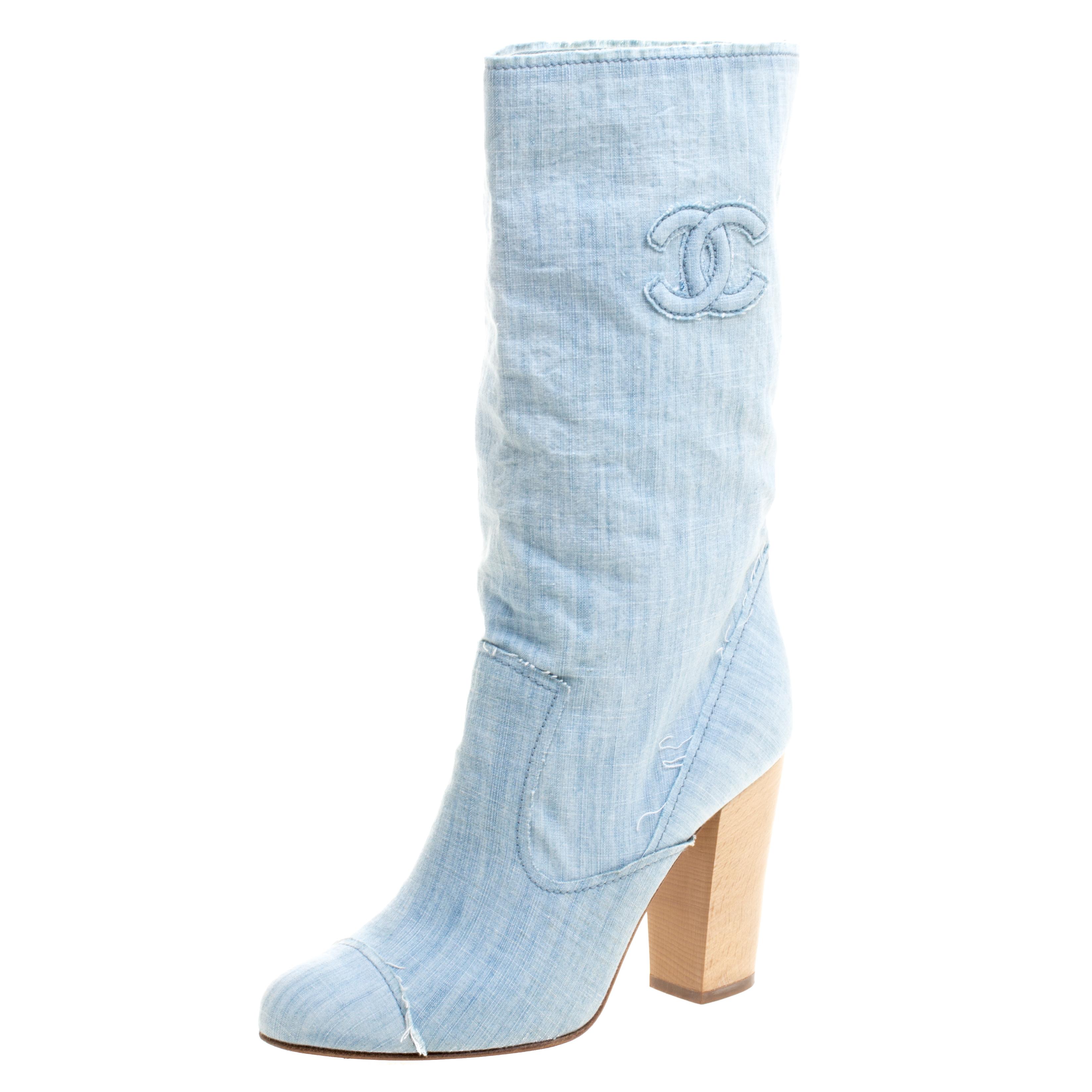 Chanel Light Blue Denim Wash Mid Calf