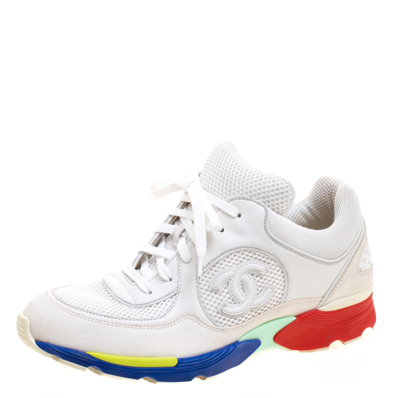 88cfeaf82cd2 ... Chanel White Mesh And Leather CC Multicolor Sole Lace Up Sneakers Size  39. nextprev. prevnext