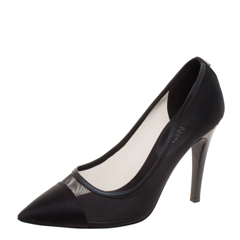 Buy Chanel Black Mesh and Satin Pointed Cap Toe Pumps Size 37.5 ...
