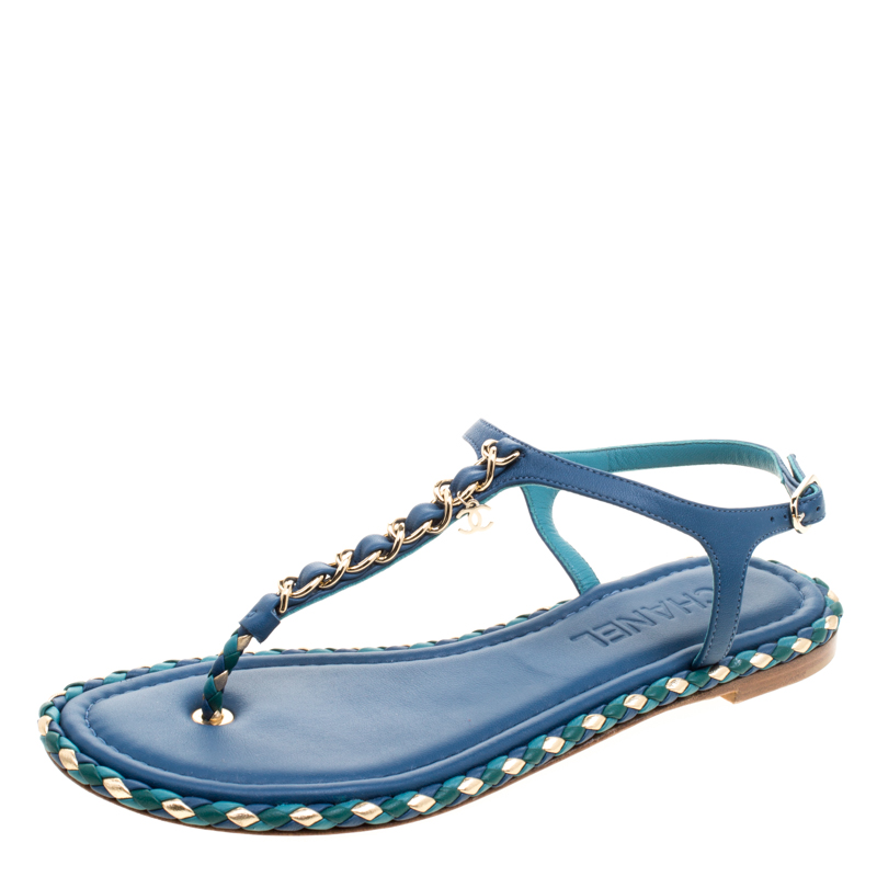 45bd00799b52 ... Chanel Blue Braided Leather Chain Detail Flat Thong Sandals Size 38.  nextprev. prevnext