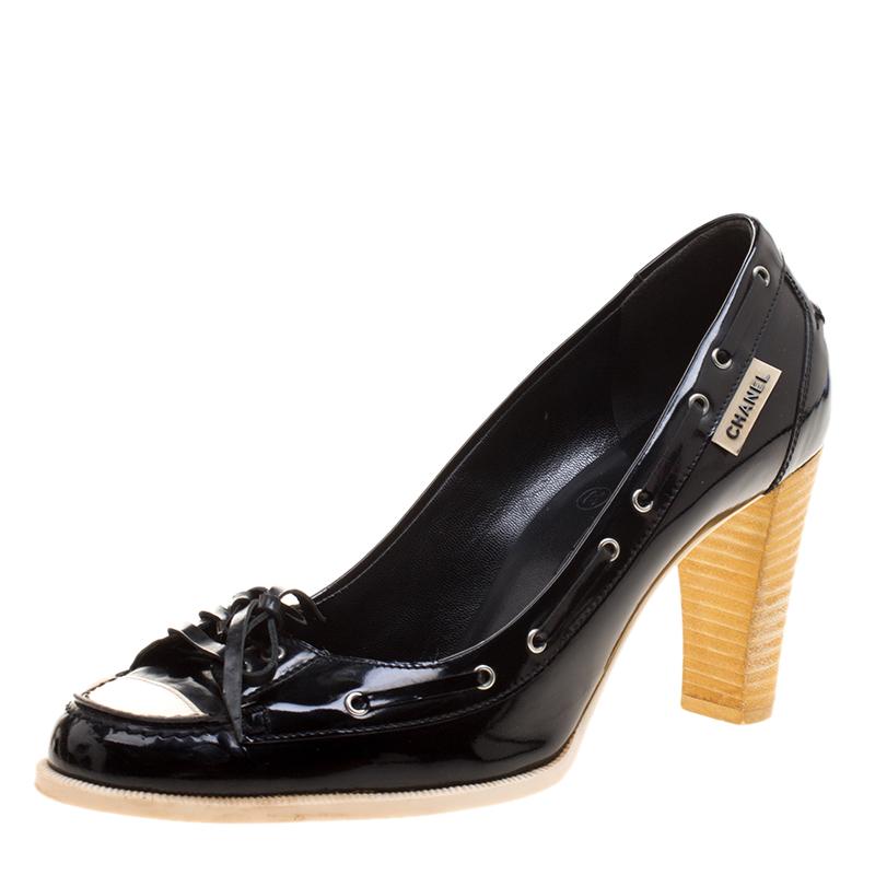 1e9c747c98a ... Chanel Black White Patent Leather Bow Cap Toe Pumps Size 37.5.  nextprev. prevnext