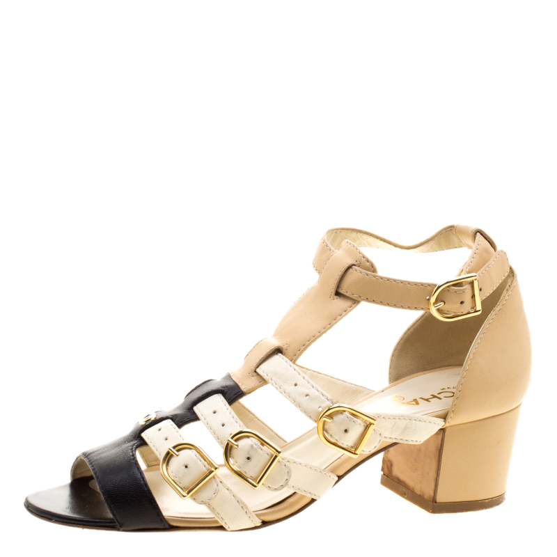 236653332f31a Buy Chanel Multicolor Leather CC Strappy Sandals 38.5 123400 at best ...