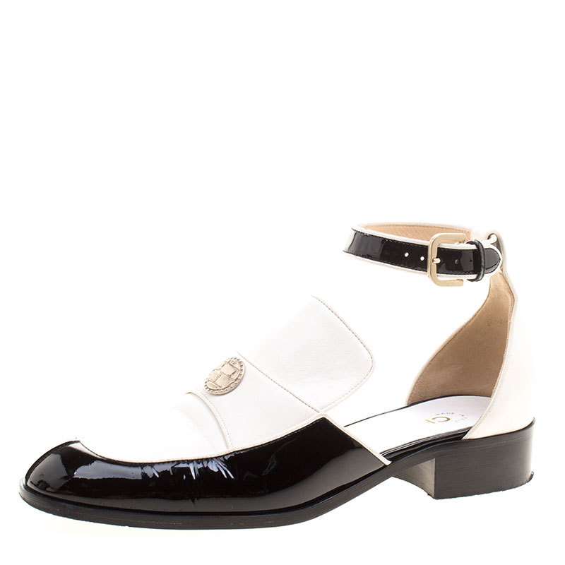 c1c1378487a Buy Chanel Monochrome Leather Ankle Strap Cutout Loafers Size 39.5 ...