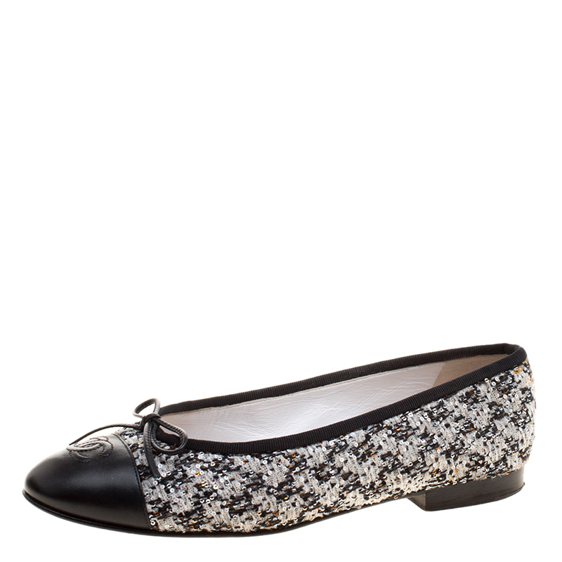 3aed83ef1a7ef ... Chanel Monochrome Sequins Embellished Tweed and Leather Cap Toe CC Bow Ballet  Flats Size 37.5. nextprev. prevnext