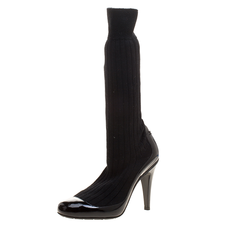 9adb21d666f ... Chanel Black Patent Leather and Sock Knee Boots Size 38. nextprev.  prevnext