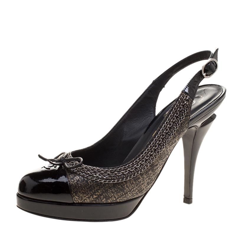 bbb60154953 Buy Chanel Black Leather CC Cap Toe Slingback Sandals Size 36.5 ...