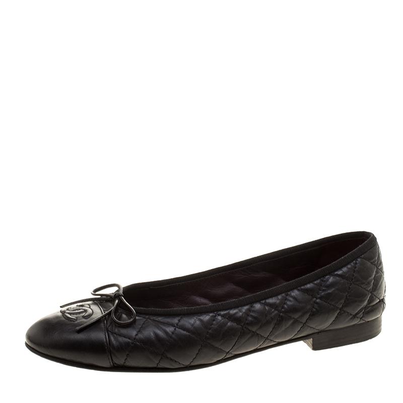 c50fb0e2231 ... Chanel Black Quilted Leather CC Bow Ballet Flats Size 38. nextprev.  prevnext