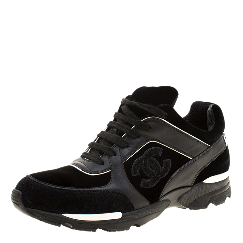 d9cc5fdd35db ... Chanel Black Velvet Leather and Suede CC Logo Lace Up Sneakers Size  39.5. nextprev. prevnext