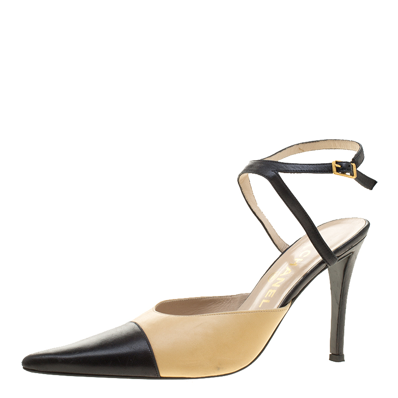 425eb05ede Buy Chanel Two Tone Leather Cap Toe Ankle Strap Vintage Sandals Size ...