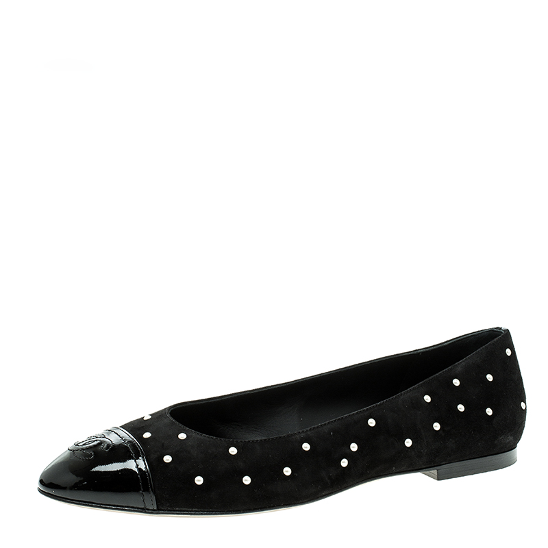 04be01a6c ... Faux Pearl Studded Suede and Patent Cap Toe Ballet Flats Size 40.5.  nextprev. prevnext