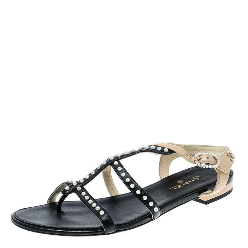 1d51a025b007 ... Chanel Black Beige Leather Faux Pearl Embellished Strappy Flat Sandals  Size 37.5. nextprev. prevnext