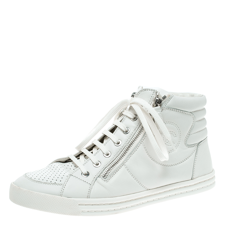 Buy Chanel White Leather Cc High Top Sneakers Size 39 5 137396 At