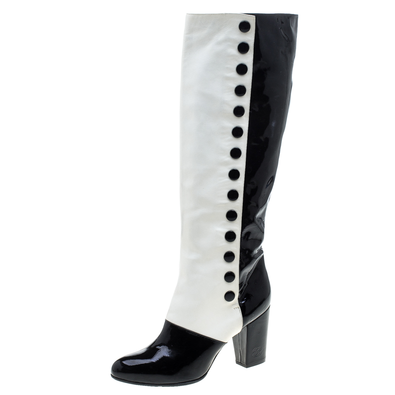Chanel Monochrome Lambskin And Patent Leather Knee Boots Size 40.5