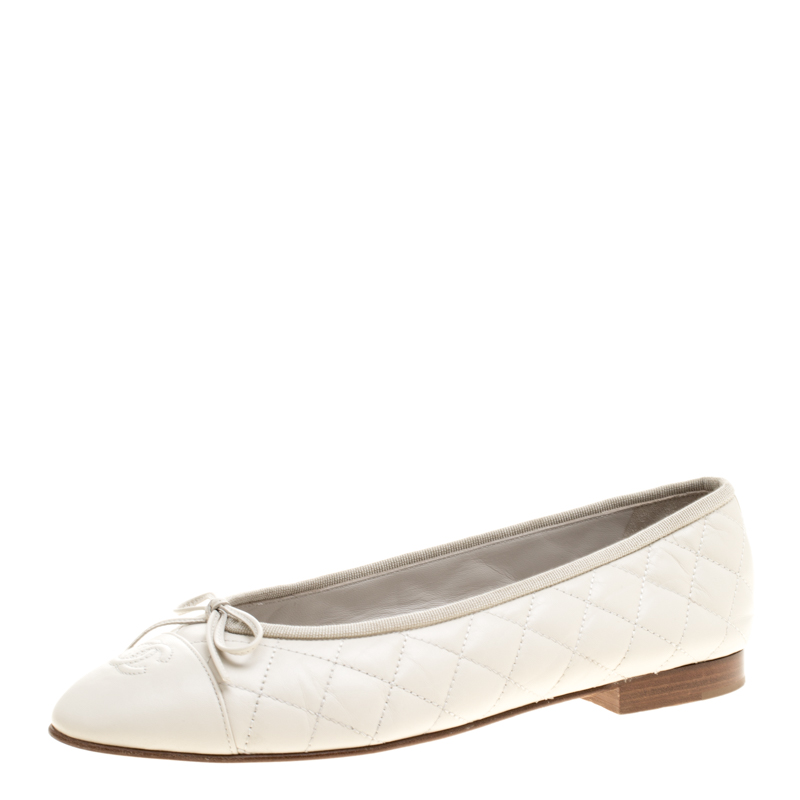 619da11ca ... Chanel Cream Quilted Leather CC Bow Ballet Flats Size 40.5. nextprev.  prevnext