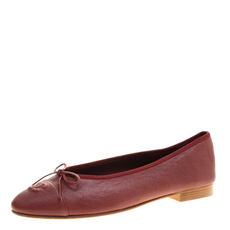 e83875895 Buy Chanel Burgundy Caviar Leather Bow CC Ballet Flats Size 40.5 ...