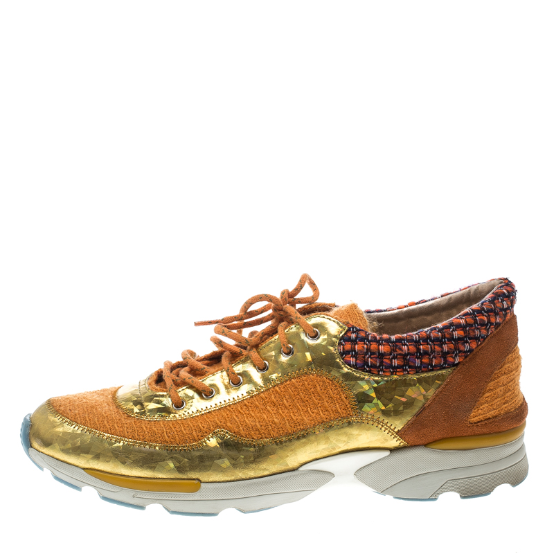 Купить со скидкой Chanel Orange Tweed and Holographic Leather Lace Up Sneakers Size 42
