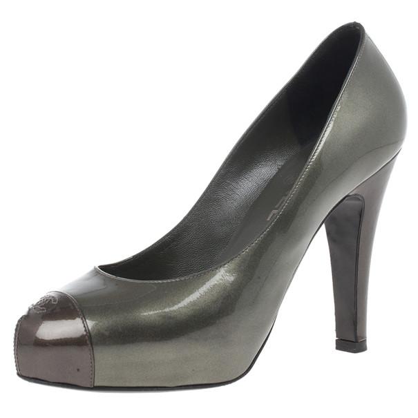 Buy Chanel Metallic CC Cap Toe Pumps Size 38 14815 at best price
