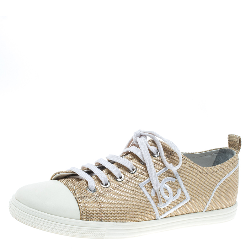 Buy Chanel Metallic Gold Canvas Tennis Cc Low Top Sneakers Size 36 5