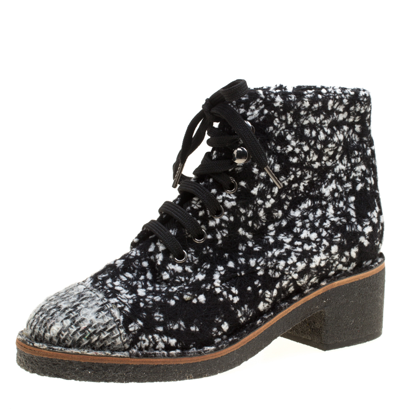 56adc6b3740f Buy Chanel Monochrome Tweed Fabric Fantasy Lace Up Ankle Boots Size ...