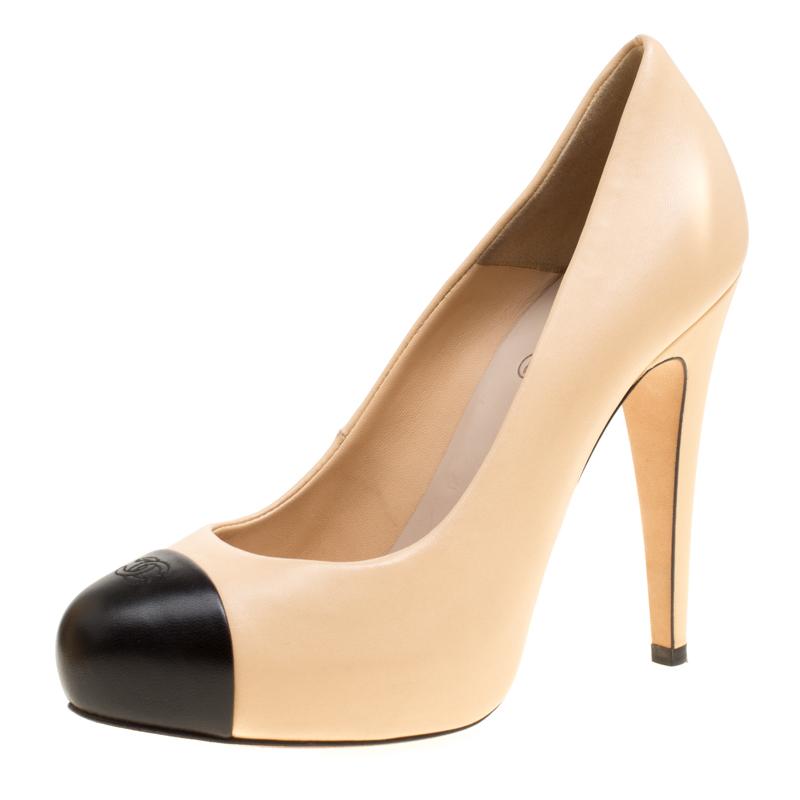 e821a7d57905 ... Chanel Beige Black Leather Cap Toe CC Platform Pumps Size 37. nextprev.  prevnext
