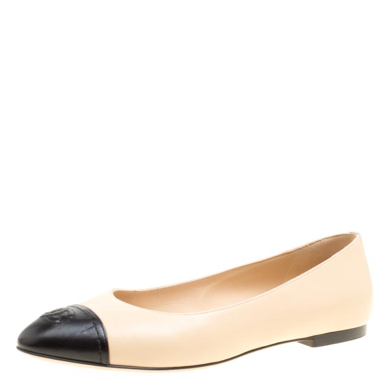 Chanel Beige/Black Leather CC Cap Toe