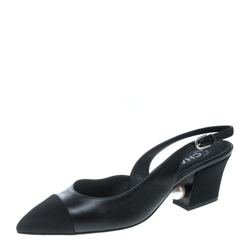 ff95ec019 ... Chanel Black Leather and Fabric Cap Toe Slingback Sandals Size 38.  nextprev. prevnext