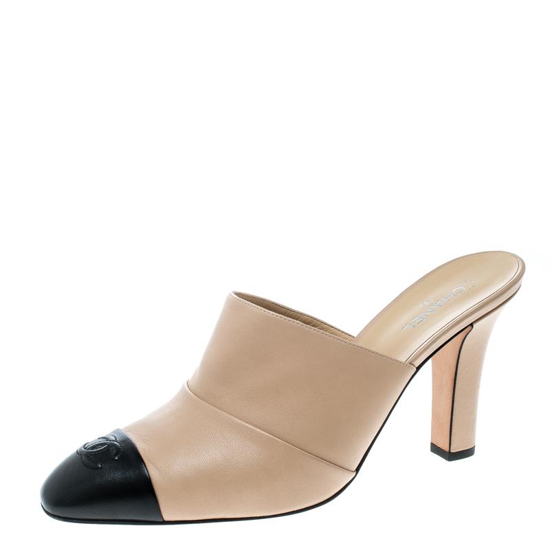 29564d14cc7e Buy Chanel Beige Black Leather Cap Toe Mules Size 41.5 159828 at ...