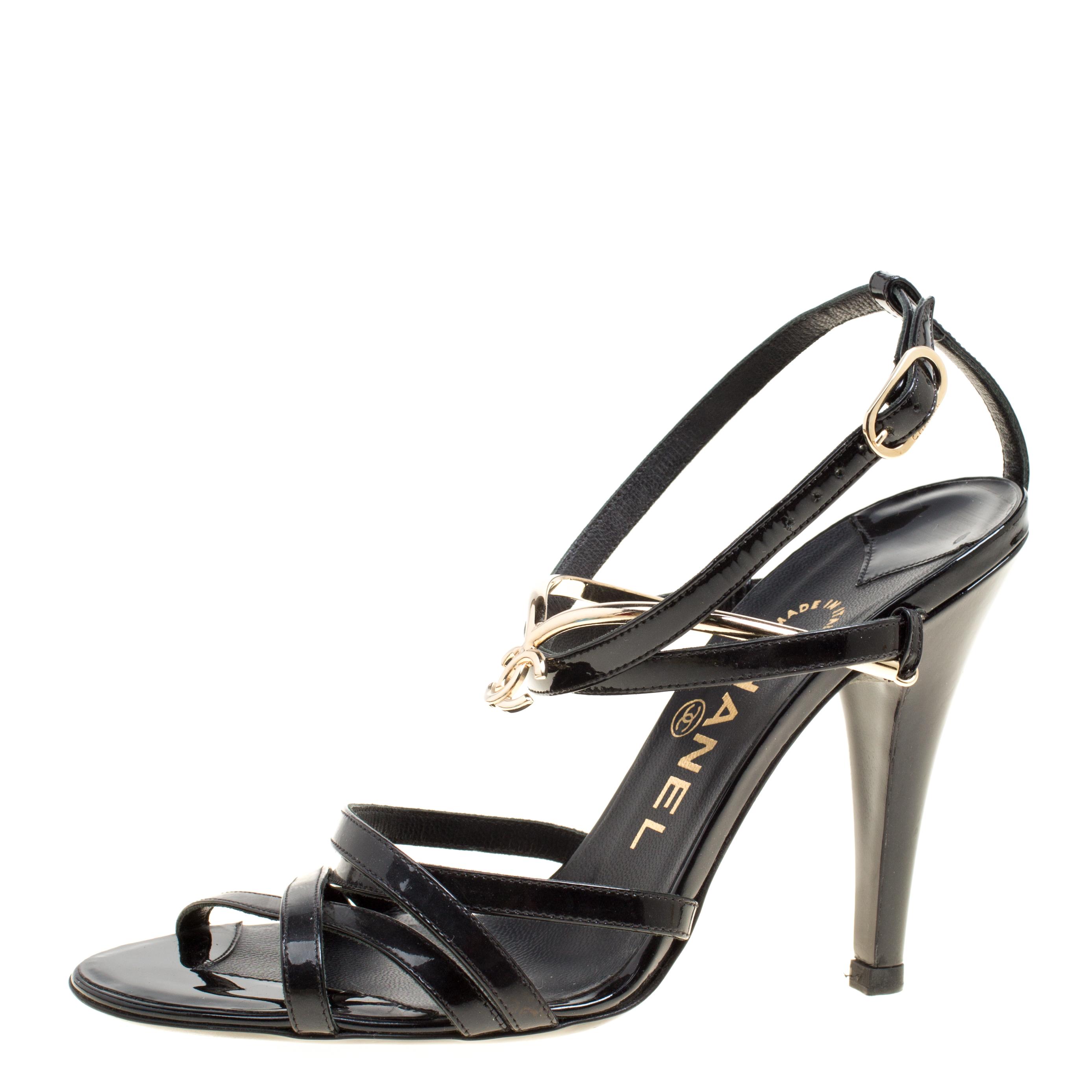 33532f0736043 ... Chanel Black Patent Leather Strappy Sandals Size 36. nextprev. prevnext