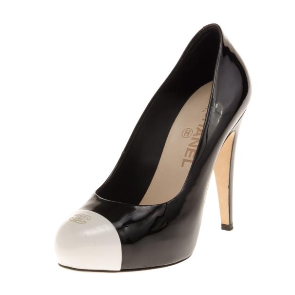 b207936bab8c ... Chanel Black   White Patent CC Cap Toe Pumps Size 37. nextprev. prevnext