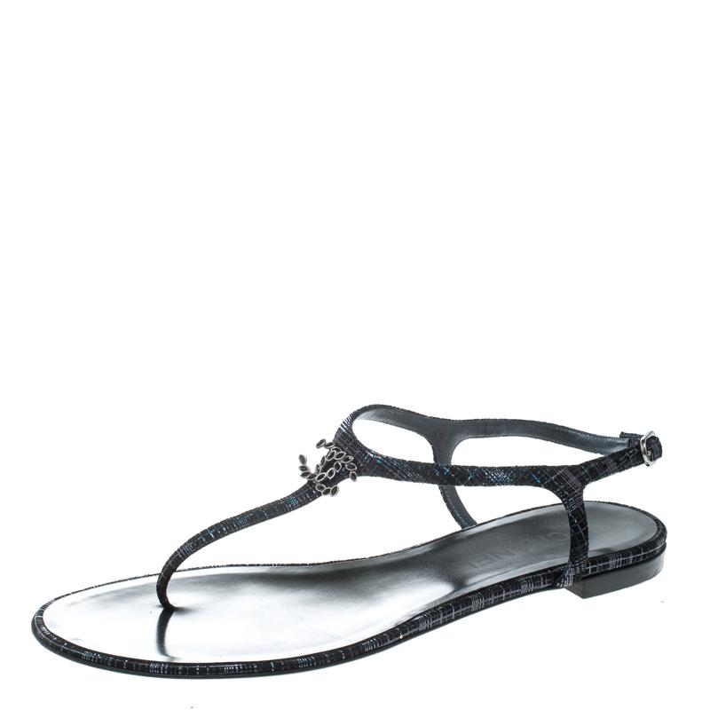 47205c8fa6a ... Chanel Metallic Black Suede CC Crystal Embellished T Strap Flat Thong  Sandals Size 40. nextprev. prevnext