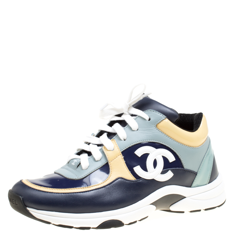 Buy Chanel Multicolor Leather Cc Logo Lace Up Sneakers Size 38