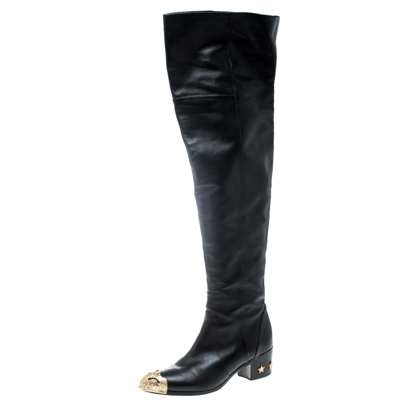 13e4f22ad81371 ... Chanel Black Leather Paris Dallas Metal Cap Toe Thigh High Boots Size  40. nextprev. prevnext