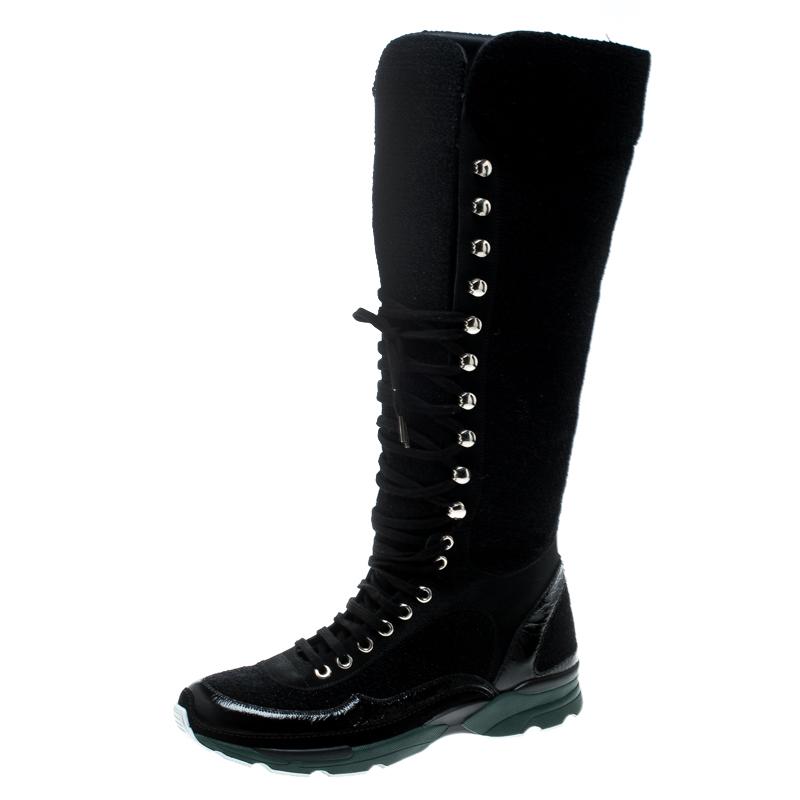366912f1f8e ... Chanel Black Tweed Knee High Sneaker Boots Size 38. nextprev. prevnext