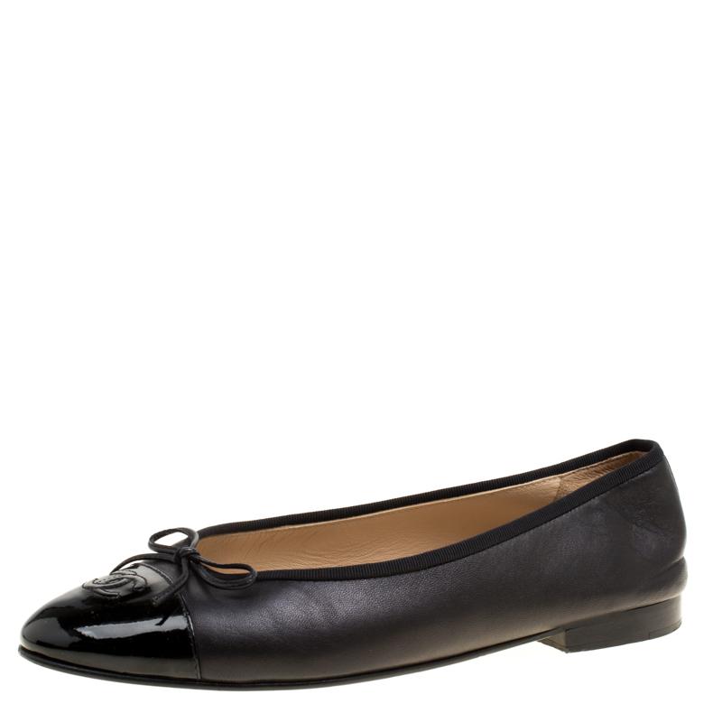 Chanel Black Leather CC Patent Cap Toe Bow Ballet Flats Size 41
