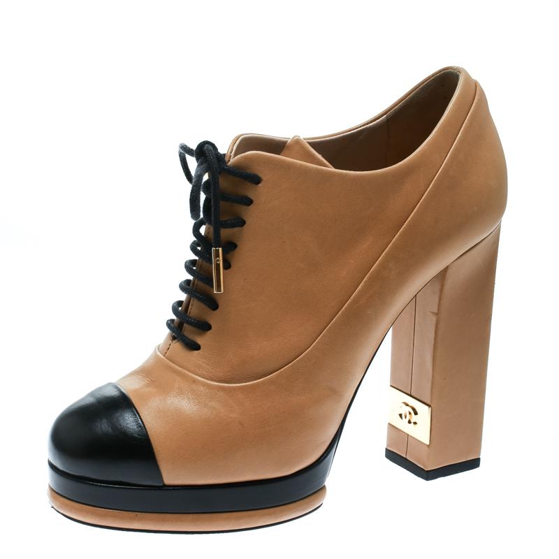 be9b7cd4b7b6 Buy Chanel Beige Black Leather Cap Toe Platform Ankle Boots Size 38 ...