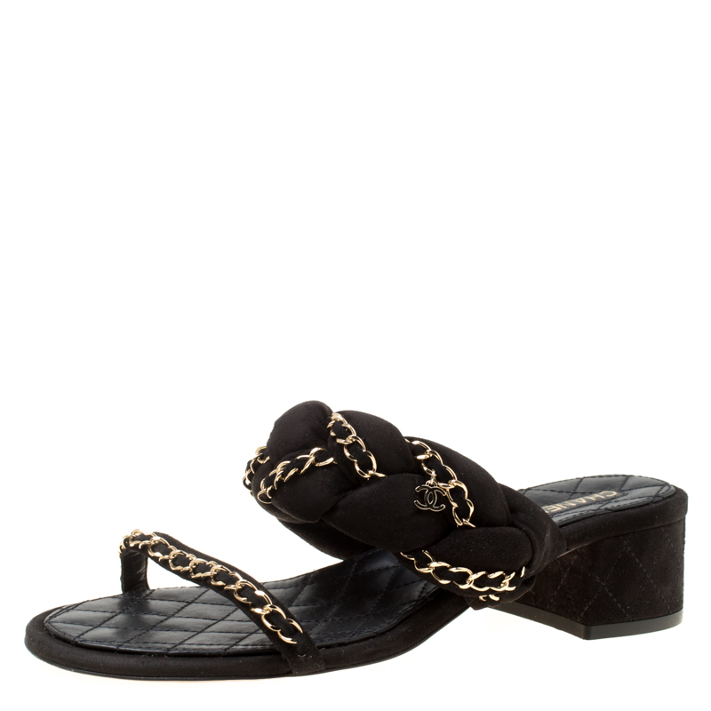 545d1be40 ... Chanel Black Suede Chain Embellished Flat Slide Sandals Size 40.5.  nextprev. prevnext