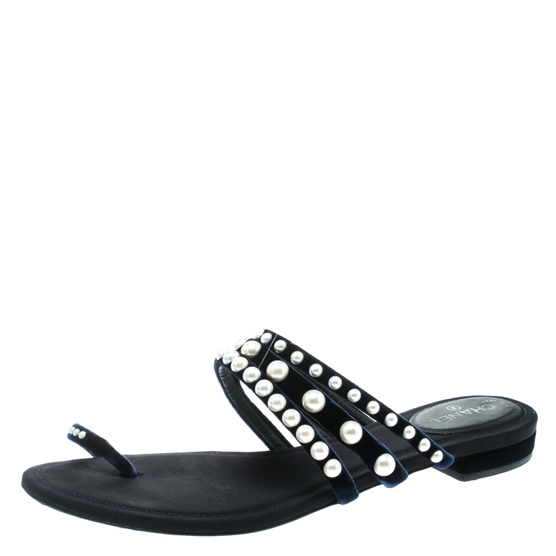 9c628467301 Buy Chanel Navy Blue Velvet Faux Pearl Embellished Flat Strappy ...