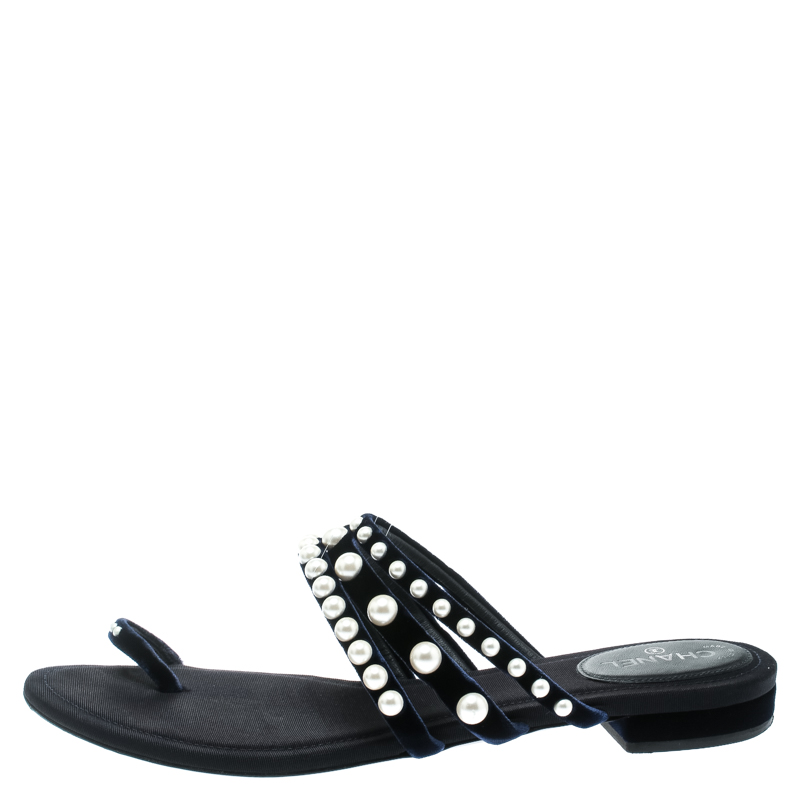 hot sales top quality lowest price Chanel Navy Blue Velvet Faux Pearl Embellished Flat Strappy Slides Size 38.5